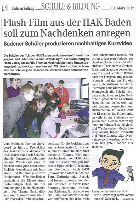 Artikel aus der Badener Zeitung vom 1.3.2012